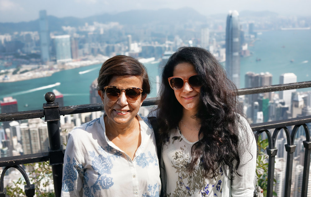 Madhvi and Purnima from India enjoying the magnificent view from my spot at the Peak