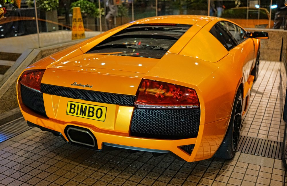 One of my favourite license plates ever! spotted at the Grand Stanford Intercontinental Hotel... what a lovely, lovely Lamborghini! -  go here for all of my Lamborghini cars in Hong Kong images