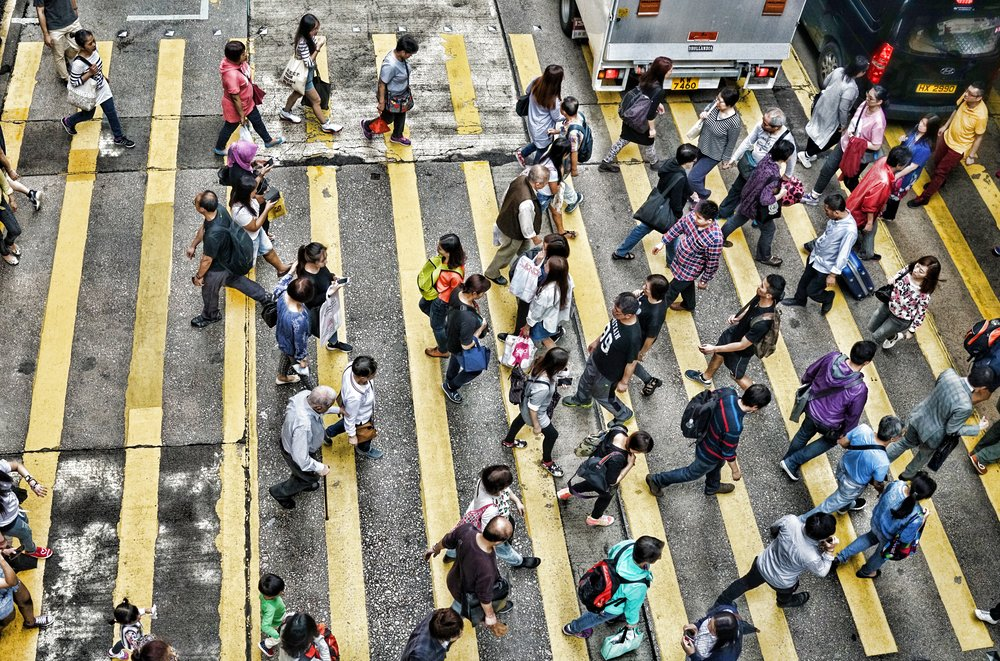 Most of our street crossings are a little busy! this one is in Mong Kok in Kowloon. -  go here for all my Hong Kong Street Scene images