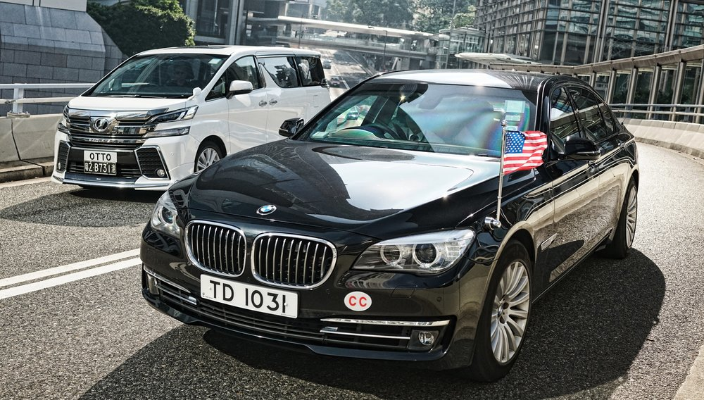 One of my favourite images - the US Consulate official BMW, how very cool.... -  go here for all my Diplomatic Cars in Hong Kong images