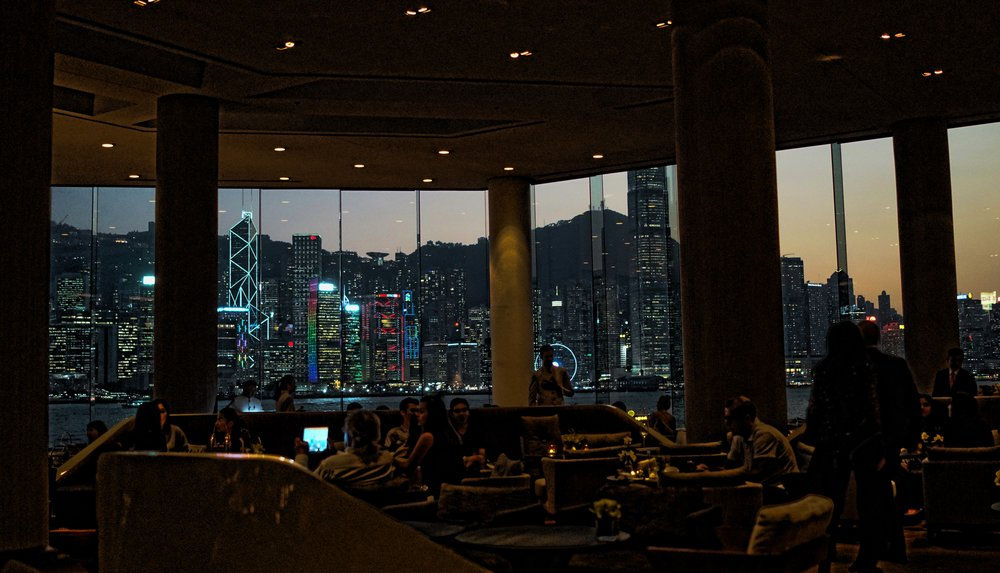 The Intercontinental Hotel lobby is famous for it's lobby views particularly at night time, the views are quite stunning and yes I have been known to stop in there on my private walking tours of Hong Kong ( yes, a shameless plug for me!) - seriously a drink in the lobby lounge at night simply takes your breath away. -  go here for all of my Intercontinental Hotel Hong Kong images