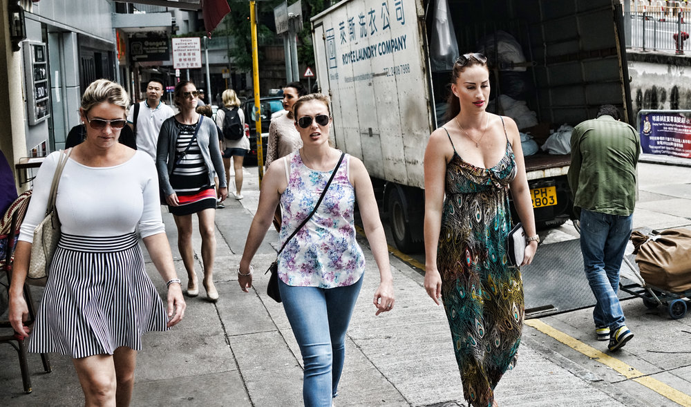 A gaggle of Aussie women on Wyndham Street Hong Kong