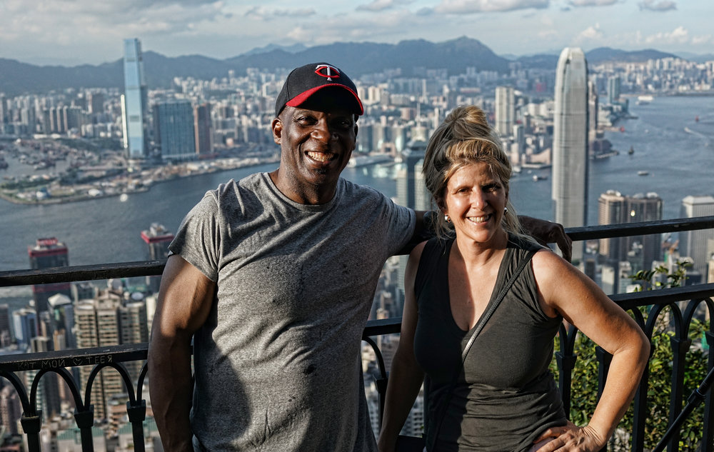 I offer premium, private walking tours of Hong Kong - here Terrell and Dr. Jenn enjoy the amazing views from my famous spot at the Peak!  - go here for all of my images taken at the Peak