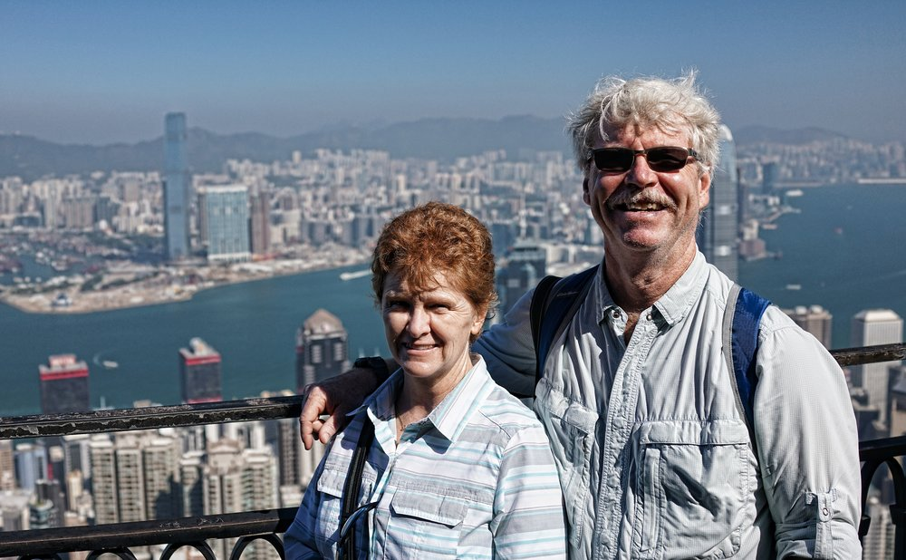Chuck and Chris on one of my premium private walking tours enjoying the fabulous view from my spot at the Peak on a picture perfect day.. sunny, warm and low humidity which does happen in December in Hong Kong!  - go here for all of my images taken at the Peak