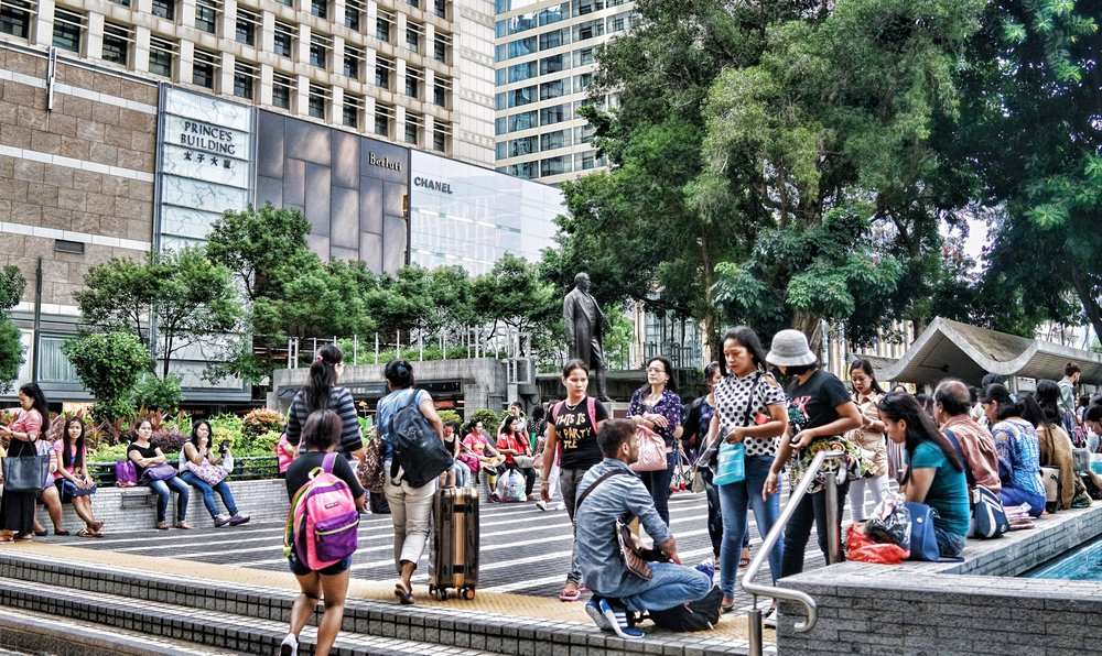 Every Sunday and some public holiday's, tens of thousands of housekeepers flock to the Central Business District on Hong Kong Island and hang out... you should visit, it is quite the cultural thing and frankly amazing to watch....