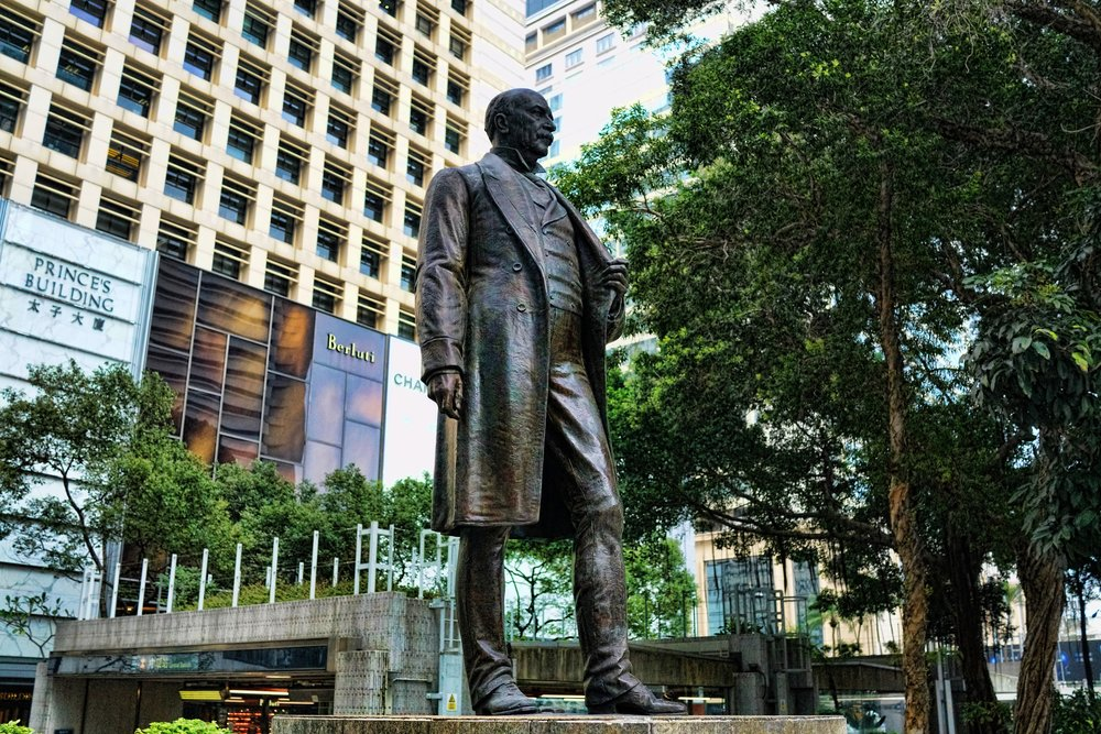 Sir Thomas Jackson, Baronet - credited with putting HSBC on the world map... what a guy! here he is lording over Statue Square in Central on Hong Kong Island.