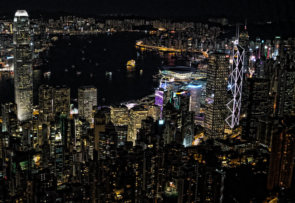Hong Kong Night Tour -  The absolutely magnificent night view from my spot at the Peak, amazing isn't it! it really doesn't get any better than this and even on a cloudy night it can take your breath away.
