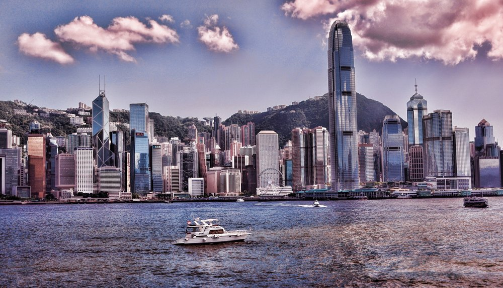 Hong Kong Airport Layover / Transit Tours -  A rather lovely image of Hong Kong Island taken from TST Promenade in Kowloon across Hong Kong Harbour.
