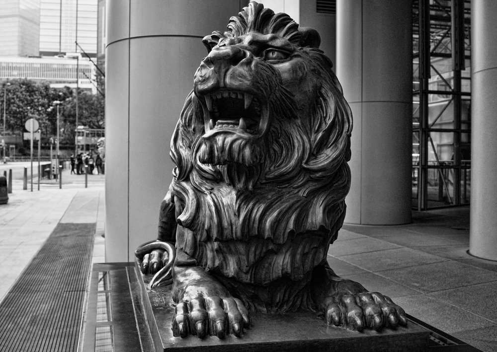 One of 2 HSBC lions in Hong Kong. Very, very lucky, Enough said.   Go here for all of my images of HSBC Headquarters in Hong Kong