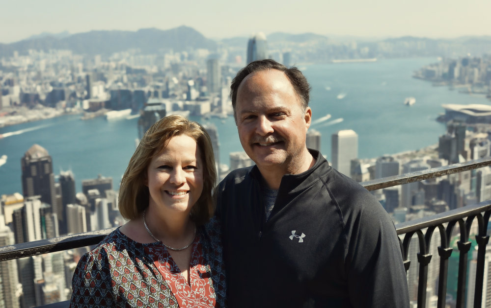 Frank and Caroline at my spot at the Peak, February 2017, it really is the most amazing city view in the world.   Go here for all of my images taken at the Peak, Hong Kong