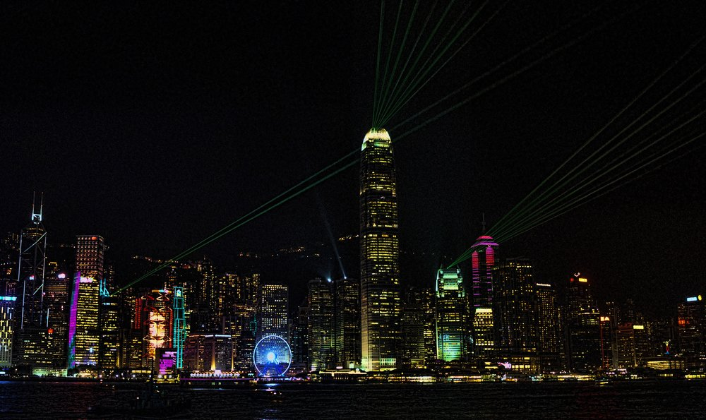 The finale of Symphony of Lights, Laser Light Show which can be seen in Hong Kong from 8pm - 8.15pm daily. It is quite something and visually quite compelling and of course you get that magnificent Hong Kong harbour view.