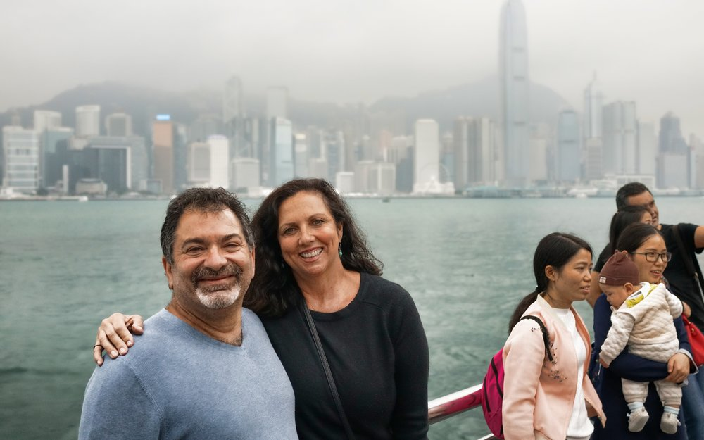 Greg and Elena admiring the very foggy / gloomy view of Hong Kong Island from TST Promenade in Kowloon.