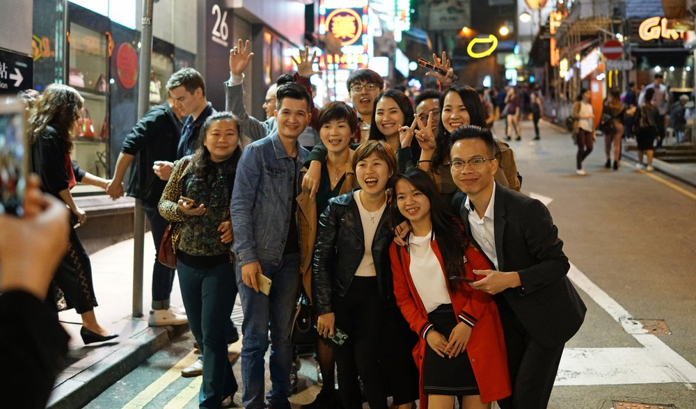 I photo bombed this happy group of campers in Lan Kwai Fong and then I got them in the perfect pose! Lan Kwai Fong in Central is the entertainment district in Hong Kong and is rather famous.