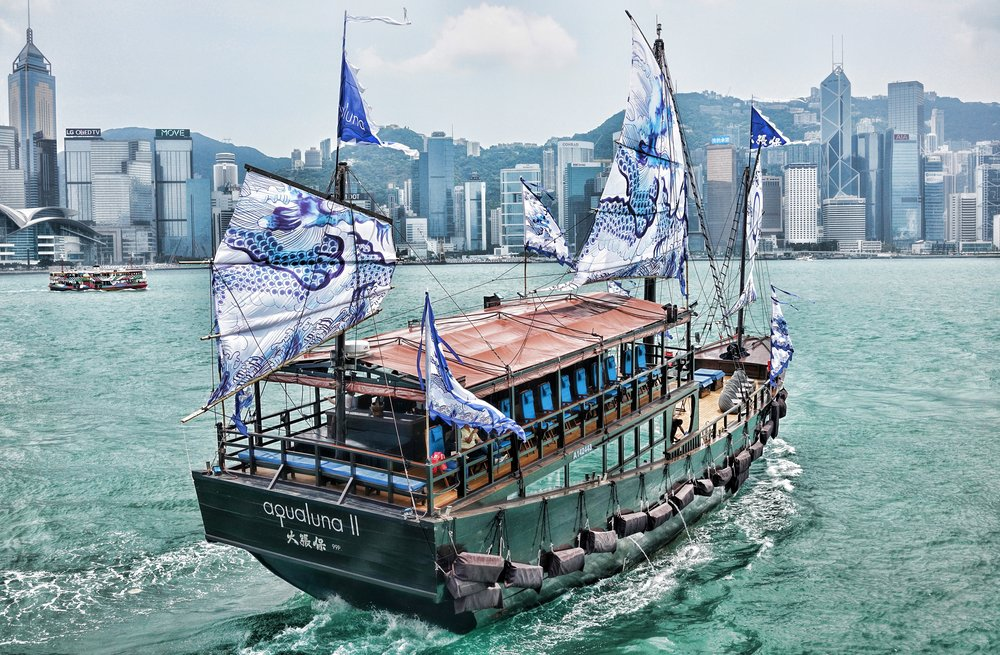 Another shot of the Aqua Luna II - it is a little bigger than the original Aqua Luna and I love the sails!! what an awesome thing to do, sailing around Hong Kong Harbour particularly at night...   Go here for all of my images of the Aqua Luna