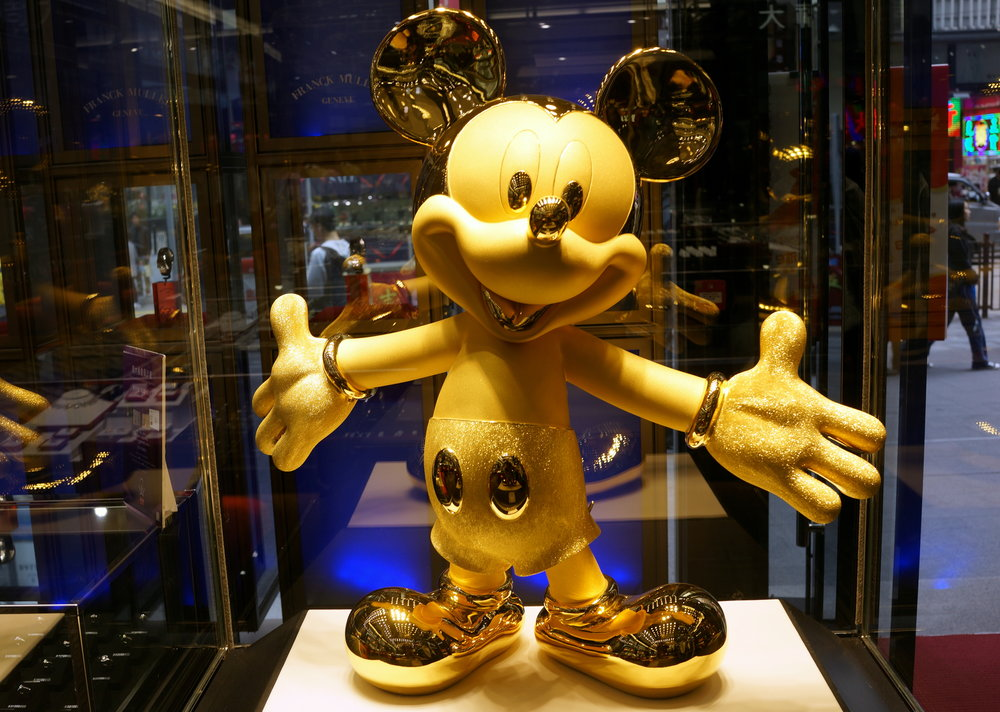 Kid Friendly Tours Hong Kong -  For kids who love Disney we can go and see gold Mickey Mouse, 24k pure gold weighing about 23lbs, so pretty darn heavy.... and worth about US$470,000 in case you are wondering.