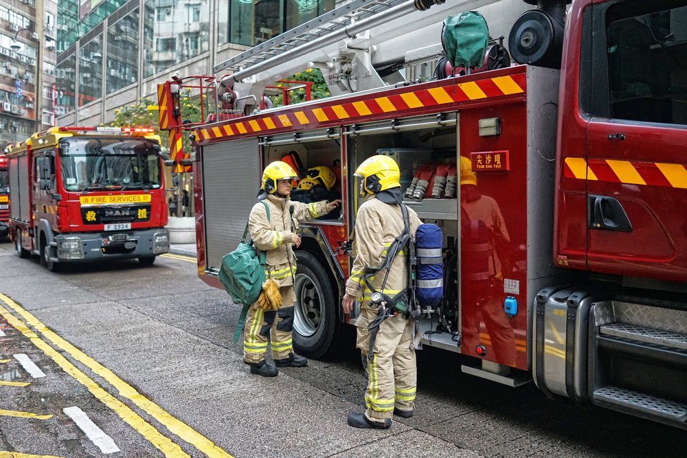 The unsung hero's of Hong Kong, our Firemen, very professional and very brave.