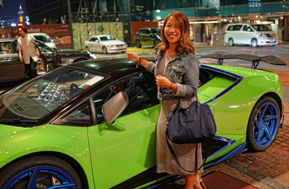 Our gorgeous niece Jennifer with a gorgeous Lamborghini.JPG