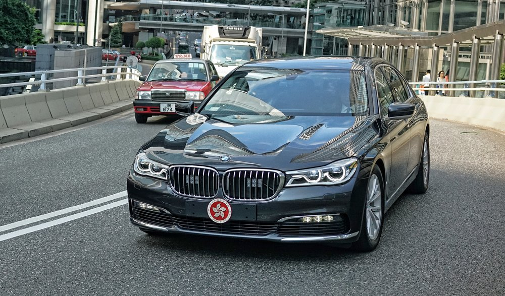 Hong Kong Chief Executive (Leader) Carrie Lam, Official BMW Hong Kong Crest instead of a licence plate.jpg