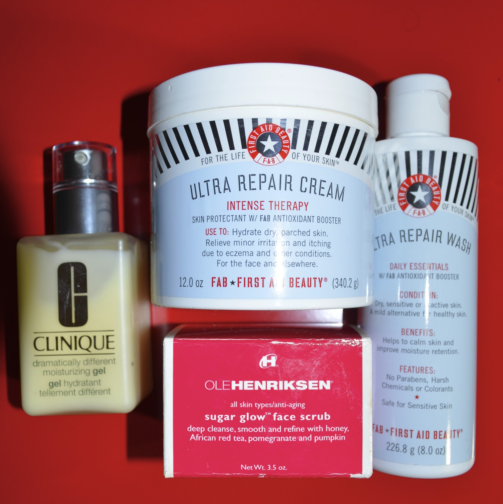 First Aid Beauty Ultra Repair Cream, First Aid Beauty Ultra Repair Cleanser, Ole Henriksen Sugar Glow Scrub, Clinique Dramatically Different Moisturizing Gel