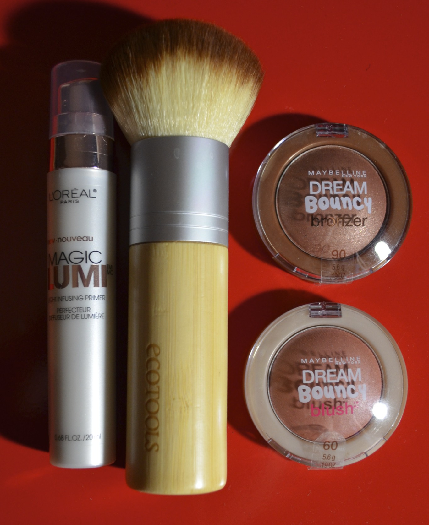 L'Oreal Magic Lumi Primer, Ecotools Bamboo Bronzer Blush, Maybelline Dream Bouncy Bronzer Sun Glow, Dream Bouncy blush Coffee Cake