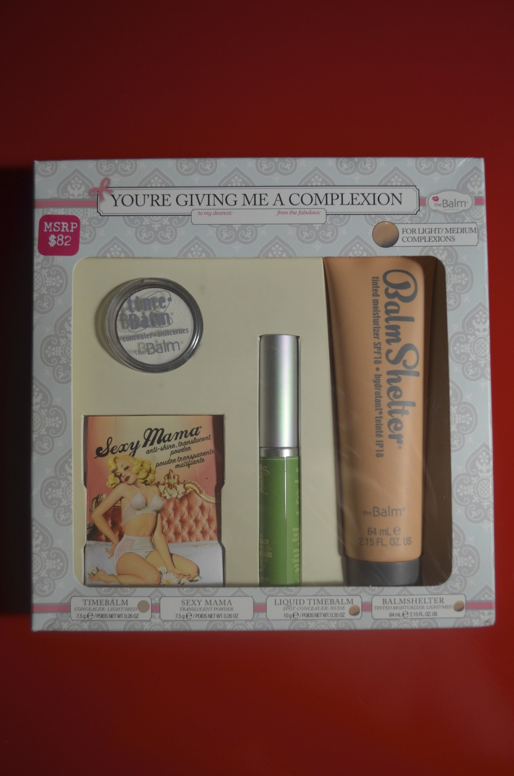 "thebalm ""you're giving me a complexion"""