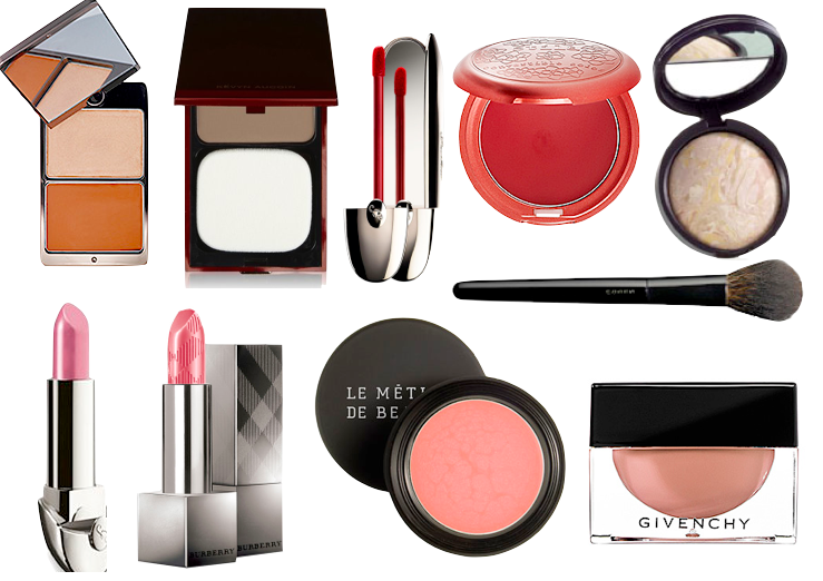 hourglass cream bronzer duo, kevyn aucoin sculpting powder, guerlain rouge g l'extrait, stila convertible color poppy, laura geller balance n brighten, guerlain rouge g, burberry lip cover, le metier creme fresh tint, givenchy ombre a fleur