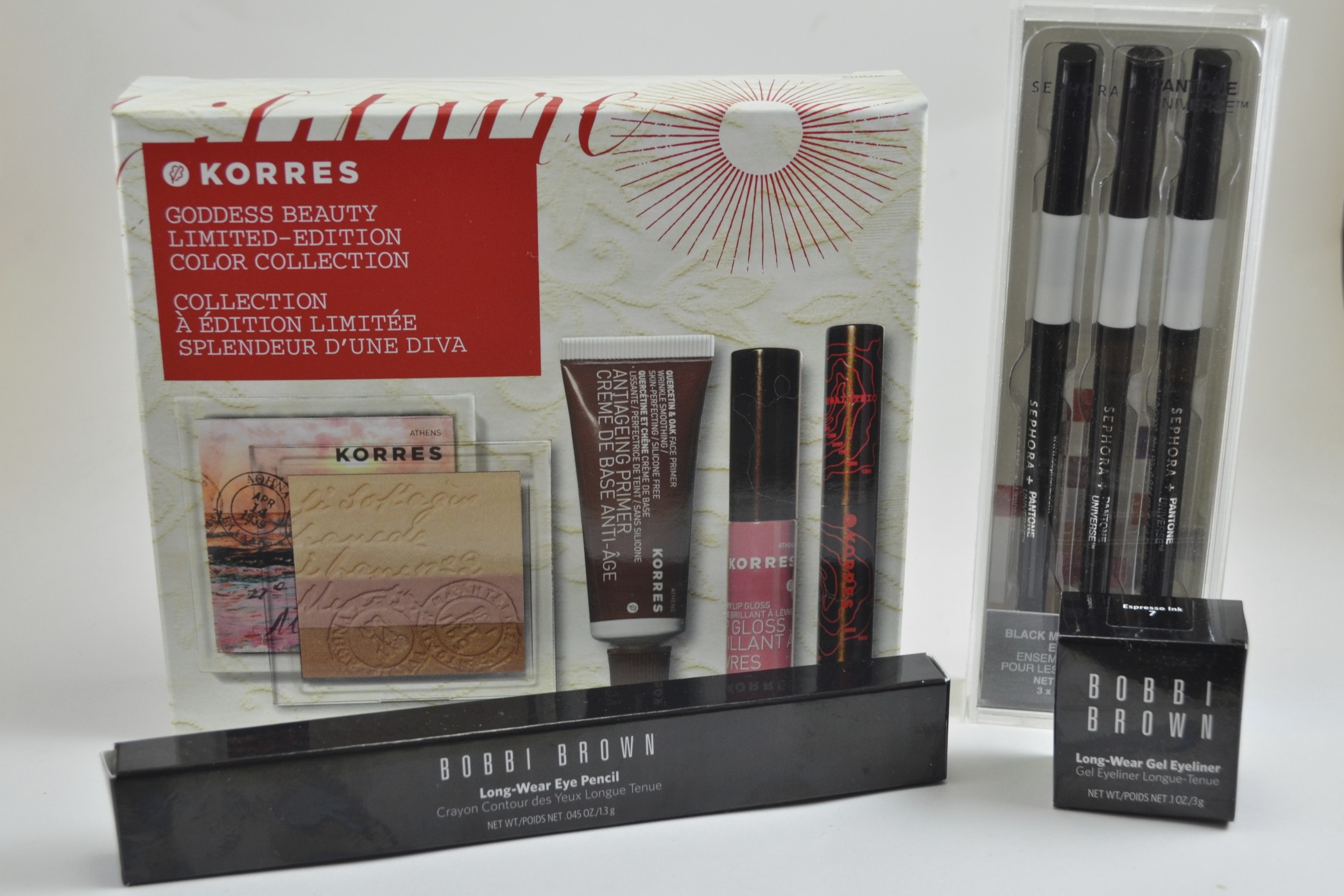 Korres goddess beauty color collection, sephora pantone black magic liner set, bobbi brown long wear eyeliner pencil black plum, bobbi brown long wear gel eyeliner espresso ink