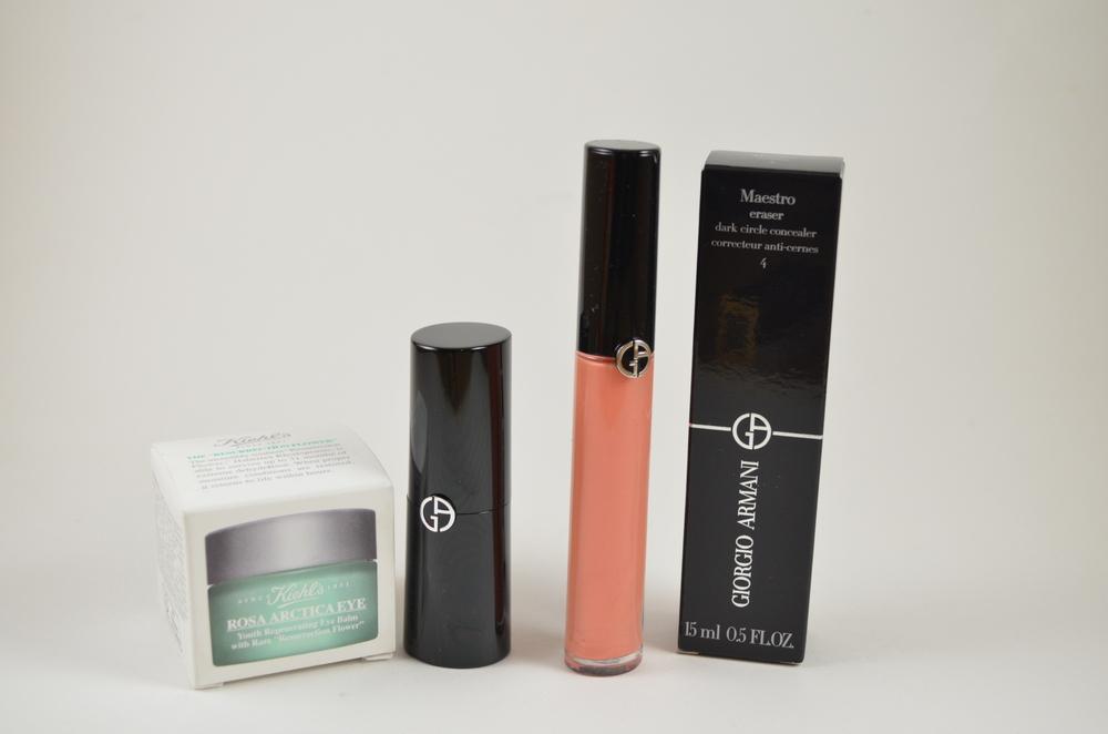 Kiehl's Rosa Artica Eye Balm, Armani Rouge d'Armani Lipstick 103, Armani Gloss d'Armani 103, Armani Maestro Eraser 4