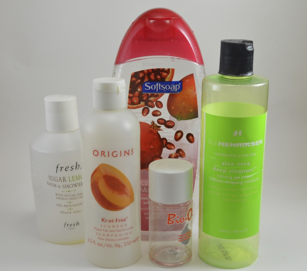 fresh sugar lemon shower gel, origins knot free shampoo, softsoap juicy pomegranate, Bio Oil, Ole Henriksen Aloe Vera Cleanser