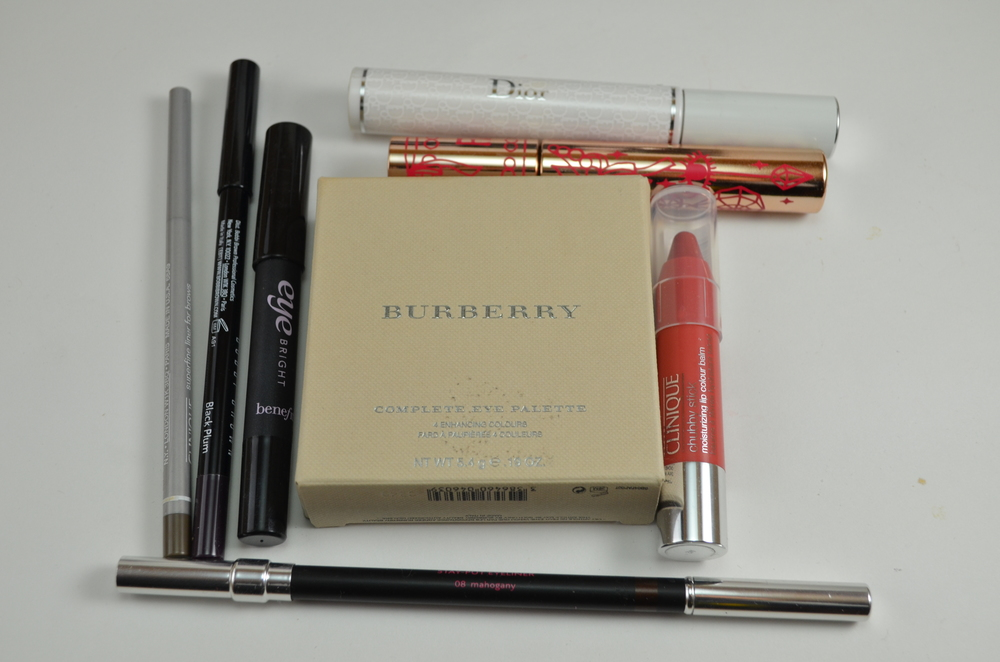 diorshow maximizer, fairydrops scandal queen, clinique superfine liner for brows, bobbi brown long wear eyeliner black plum, benefit eye bright, burberry pink taupe eye palette, jemma kidd define liner mahogany, clinique chubby stick mega melon