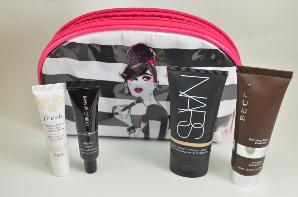 Sephora Izak makeup bag, Fresh umbrian clay concealer, armani maestro eraser, nars tinted moisturizer, becca bronzing perfector