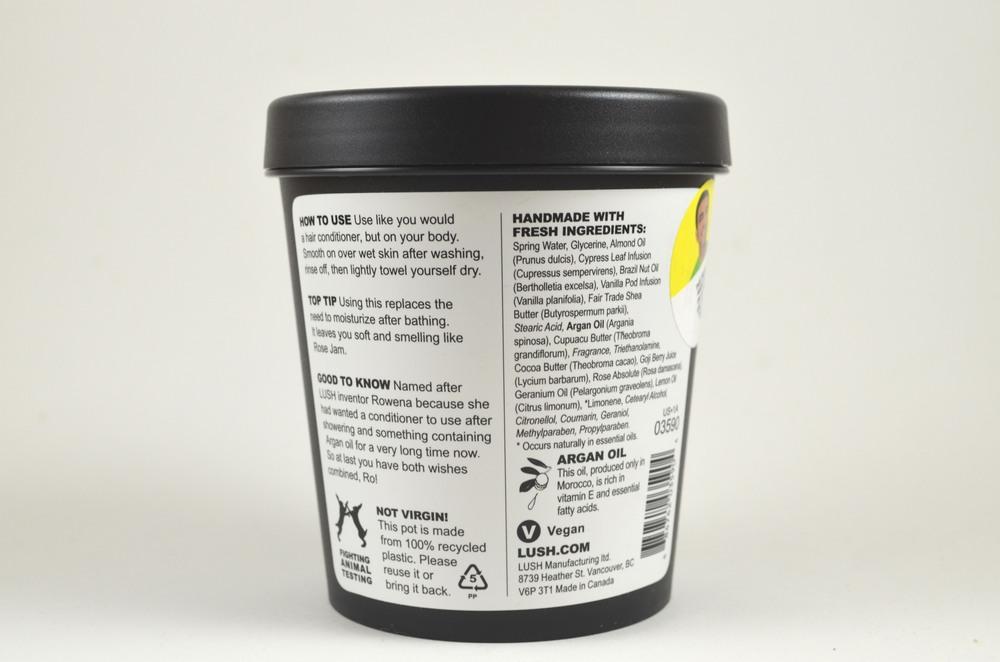 lush ro's argan body conditioner ingredients, instructions