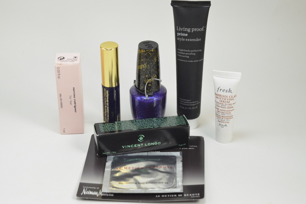 narciso rodriguez for her, estee lauder mascara, opi liquid sand, living proof prime style extender, fresh umbrian clay mattifying, vincent longo lipstick, le metier de beaute sample