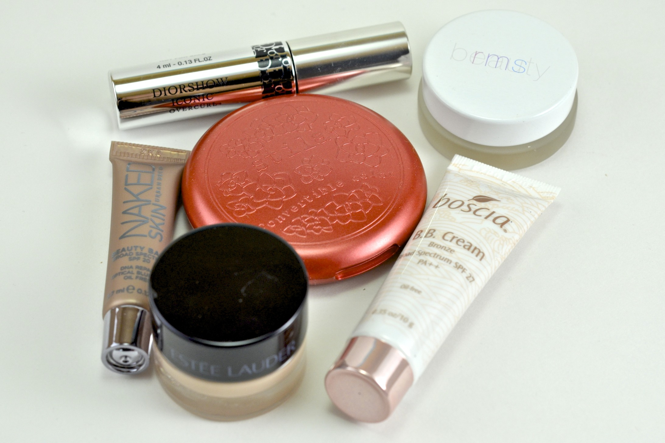 Diorshow Iconic Overcurl Mascara, RMS Uncoverup, Urban Decay Naked BB Cream, Stila Convertible Color Poppy, Boscia Bronze BB Cream, Estee Lauder Halo Shadow Paint