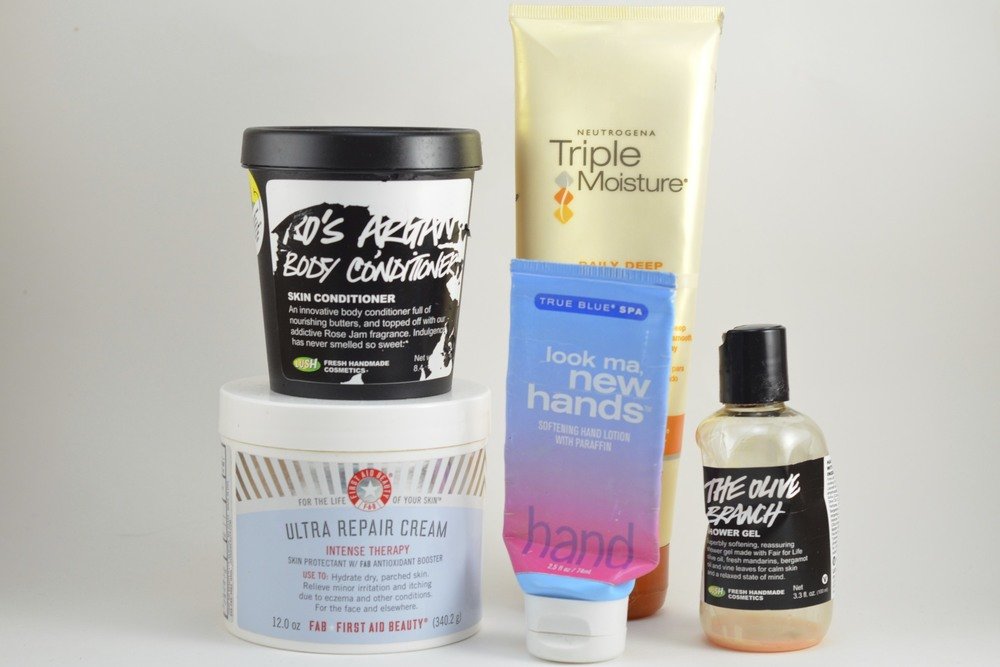 lush ro's argan body conditioner, first aid beauty ultra repair cream, neutrogena triple moisture conditioner, Look Ma New Hands hand cream, Lush olive branch shower gel