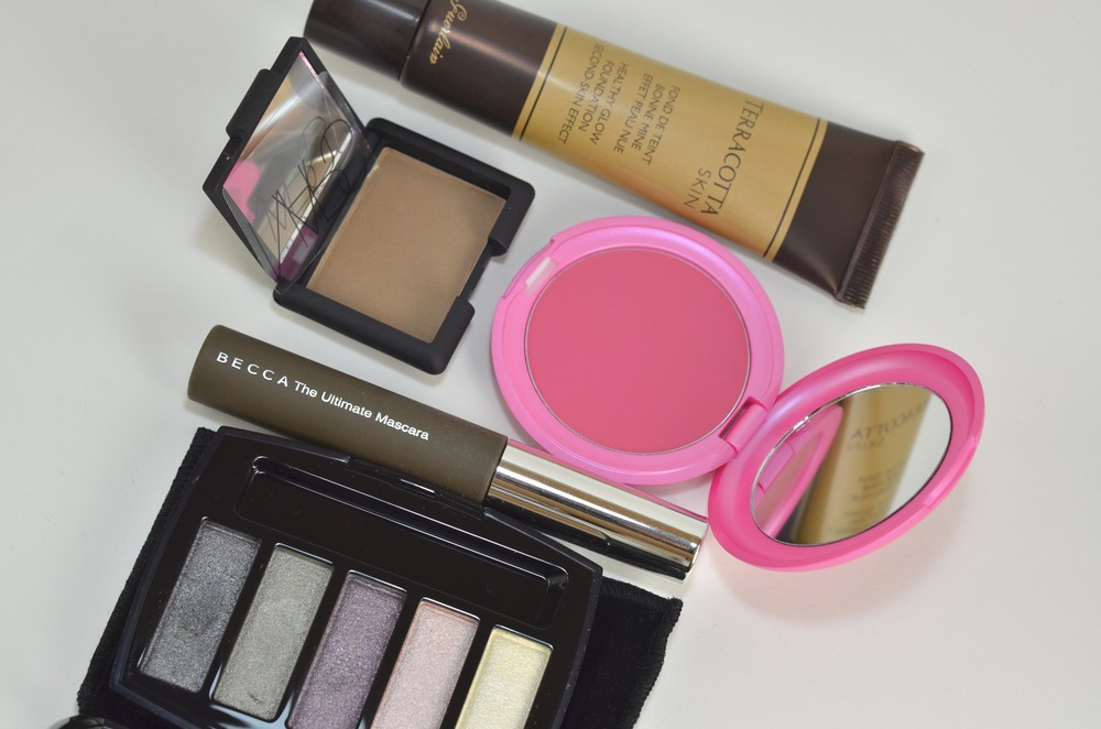guerlain healthy skin foundation, nars blondie eyeshadow, stila convertible color in sweet pea, becca the ultimate mascara, chanel ombre perlees eyeshadow palette