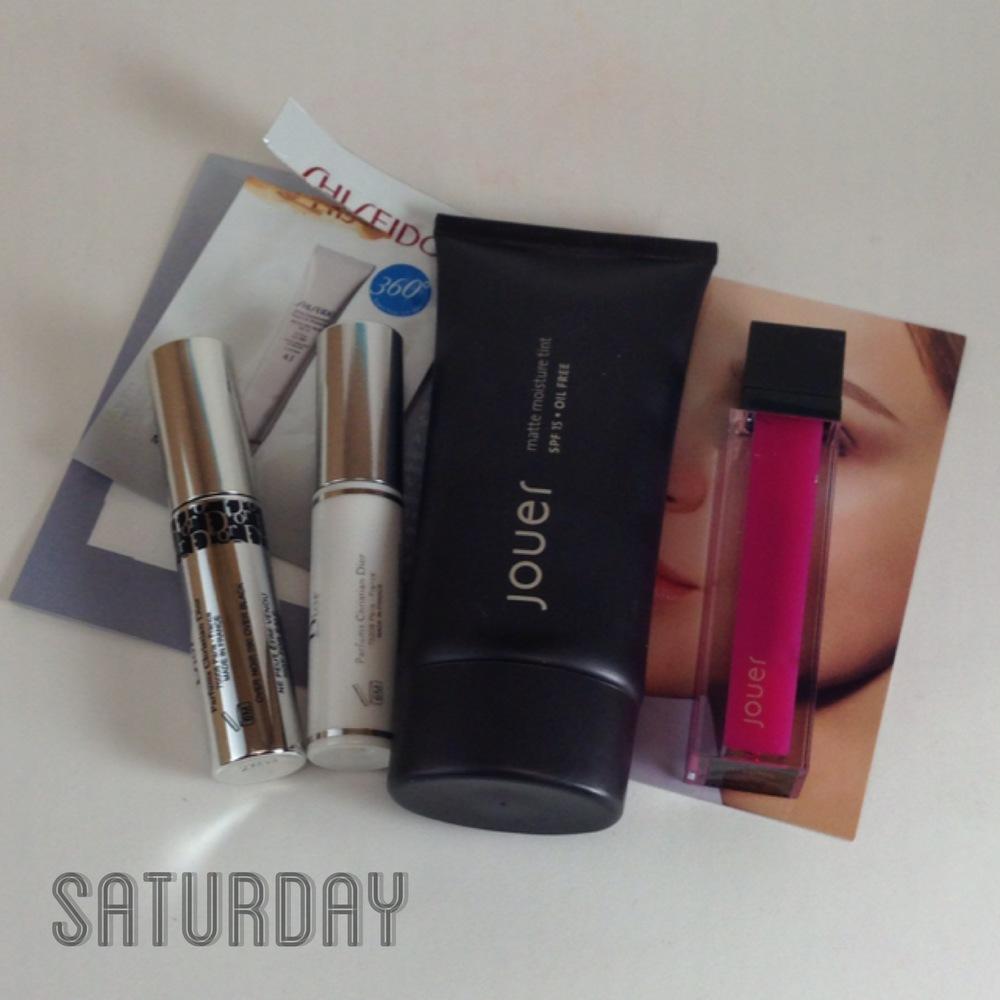 Shiseido Urban Environment Tinted UV Protector in Medium sample, Diorshow Iconic Overcurl, Diorshow Maximizer, Jouer Matte Moisture Tint in Chamomile, Jouer Moisturizing Lip Gloss in Malibu