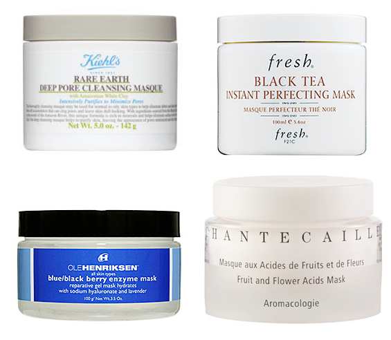 kiehl's deep pore mask, fresh black tea mask, ole henriksen blue/black berry enzyme mask, chantecaille fruit & flower acids mask
