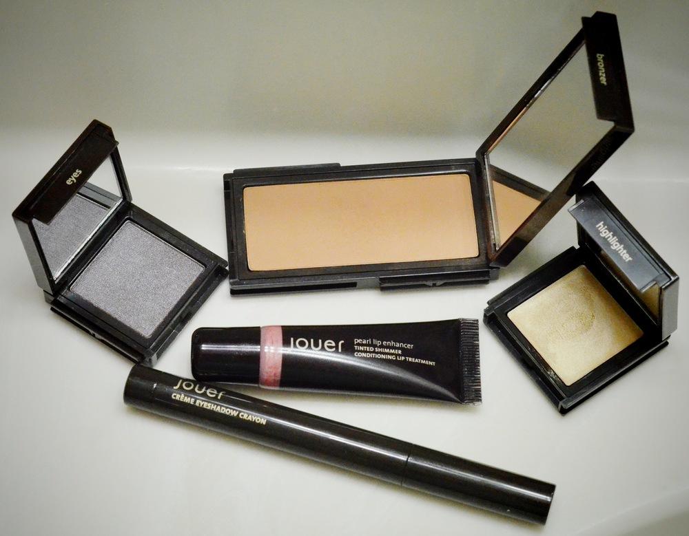 Jouer Powder Eyeshadow in Caviar, Jouer Mineral Powder Bronzer in Suntan, Jouer Highlighter in Tiare, Jouer Tinted Lip Enhancer in Rose Pearl, Jouer Creme Eyeshadow Stick in Rococo