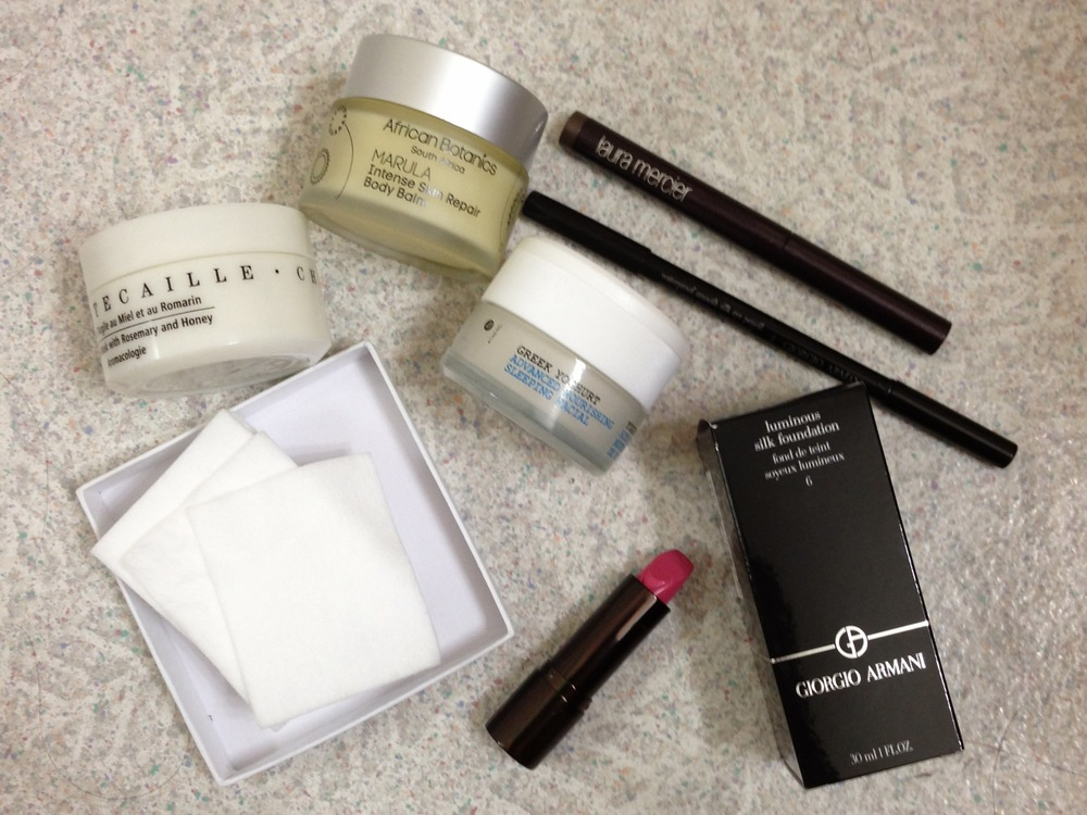 chantecaille detox mask, african botanics marula intensive repair balm, korres sleeping facial, hourglass lipstick, shiseido cotton, armani waterproof smooth silk, laura mercier caviar eye stick, armani luminous silk foundation