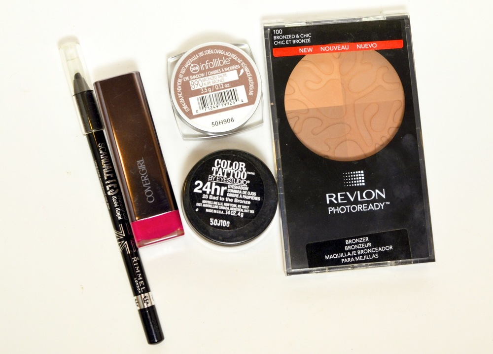 drugstore beauty favorites, budget beauty, rimmel scandaleyes liner review, covergirl lip perfection in Spellbound review, loreal infallible bronzed taupe review, maybelline color tattoo bad to the bronze review, revlon photoready bronzer review