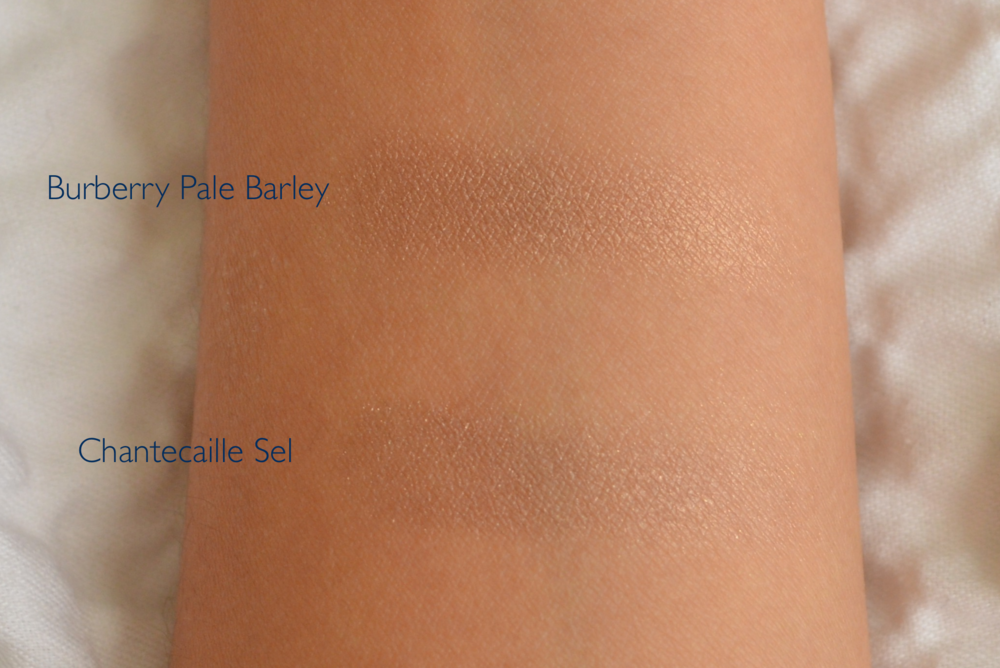 chantecaille sel swatch, burberry pale barley swatch, chantecaille sel swatch comparison, burberry pale barley swatch comparison