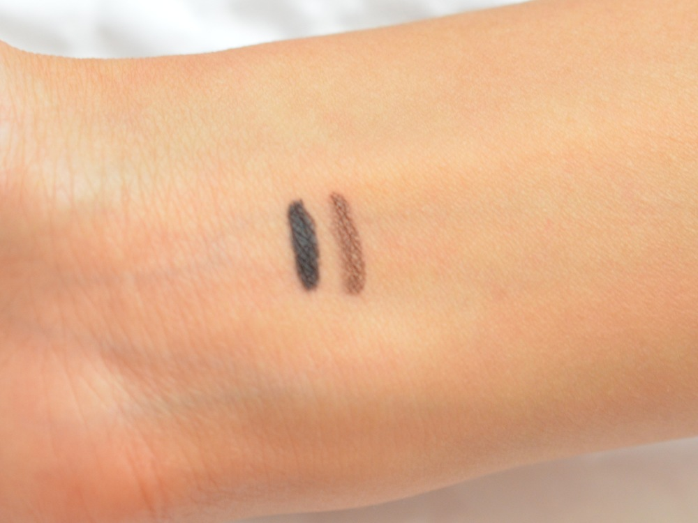 Swatches L=R: Marc Jacobs Highliner in Blacquer, Ro(Cocoa)