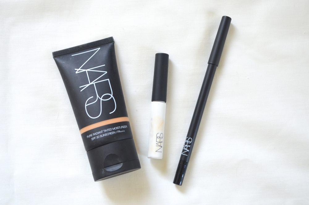 Nars Pure Radiant Tinted MOisturizer, Nars Pro-Prime Smudgeproof Eye Base, Nars Large Than Life Eyeliner in Via Veneto