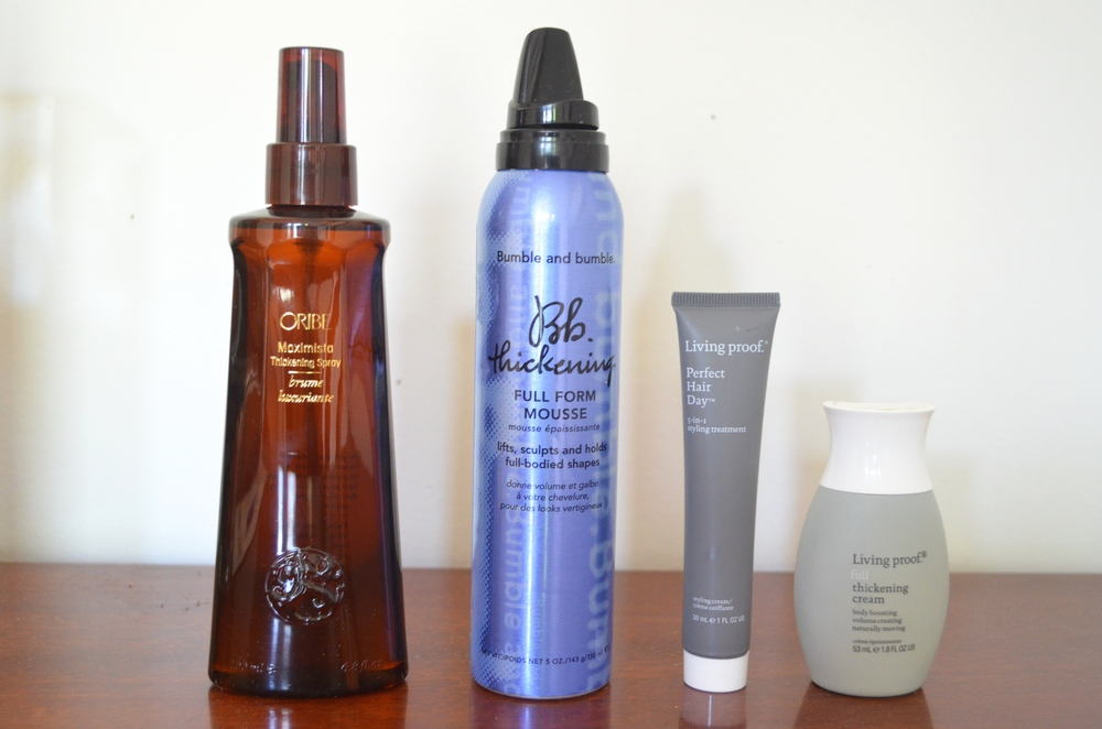 Oribe Maximista, Bumble & Bumble Thickening Mousse, Living Proof Perfect Hair Day, Living Proof Full Thickening Cream