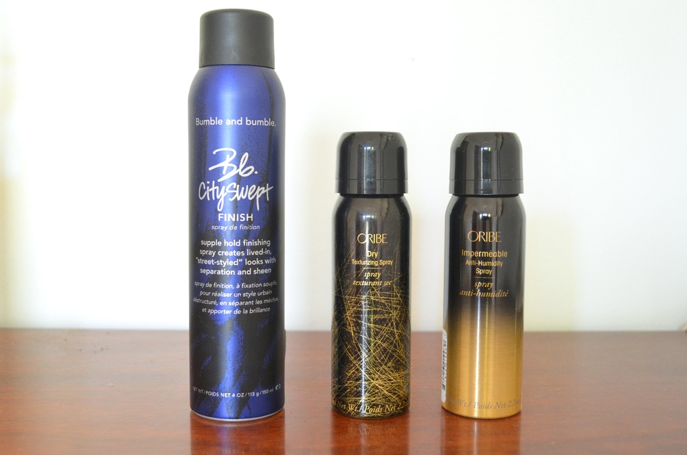 Bumble & Bumble Cityswept Finish, Oribe Dry Texturizing Spray, Oribe Impermeable Anti-Humidy Spray