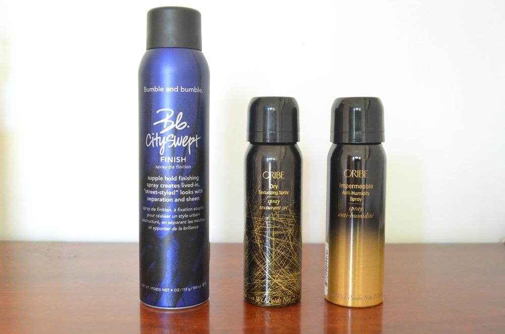 Bumble & Bumble Cityswept Finish, Oribe Dry Texturizing Spray, Oribe Impermeable Anti-Humidy Spray