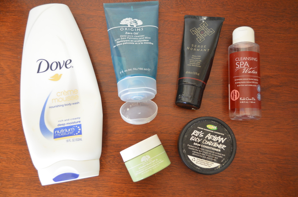 Clockwise from lef: Dove Creme Mousse Deep Moisture Body Wash, Origins Zero Oil Cleanser, Serge Normant Meta Silk Shampoo, Koh Gen Do Cleansing Spa Water, Lush Ro's Argan Body Conditioner*, Origins A Perfect World SPF 25