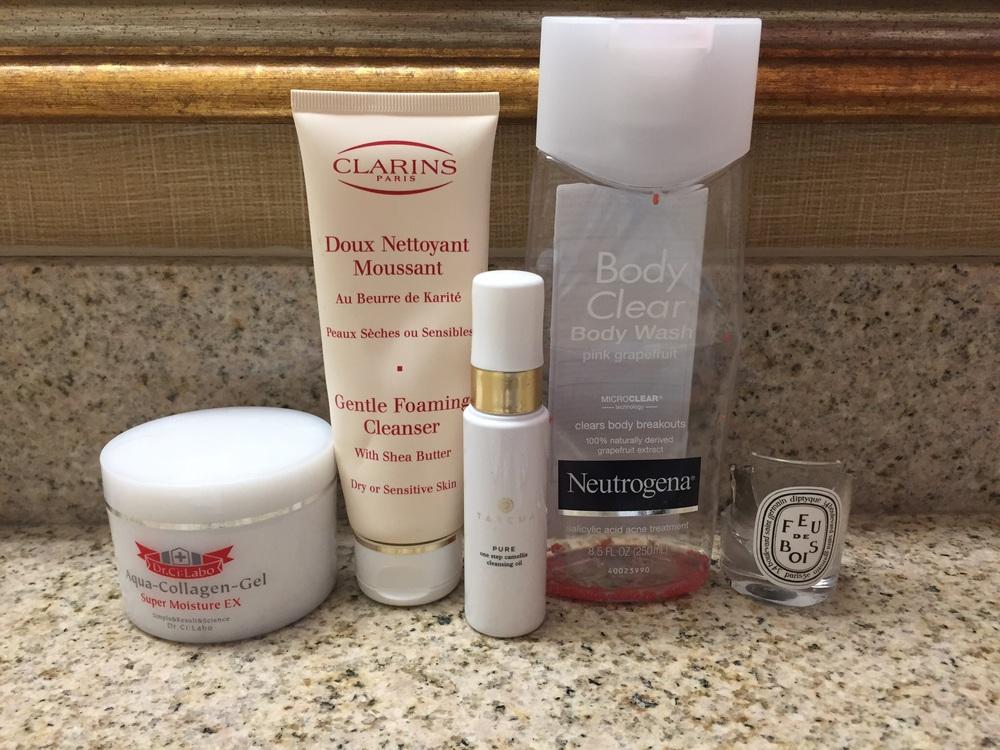 Dr Ci Labo Moisturizer, Clarins Cleanser, Tatcha Cleansing Oil, Neutrogena Body Clear Body Wash, Diptyque Feu de Bois