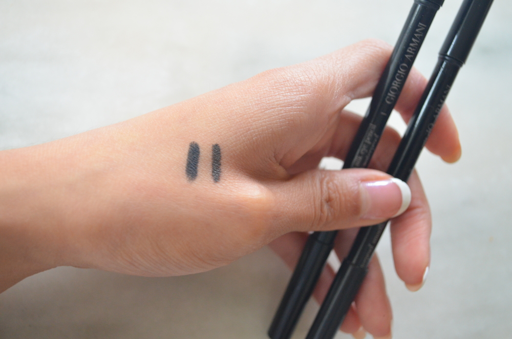 armani waterproof smooth silk eyeliner black swatch, armani waterproof smooth silk eyeliner brown swatch
